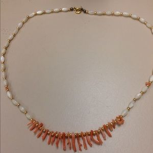 coral necklace with mother pearl 17 inch